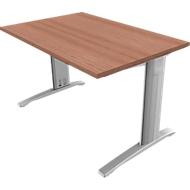 Schreibtisch PHENOR, im Fuß integrierte Kabelkanäle, Rechteck, C-Fuß, B 1200 x T 800 mm, Nuss Canaletto-Dekor