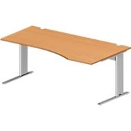 Schreibtisch PLANOVA BASIC, B 1800 x T 1000/800 x H 717 mm, Buche-Dekor, Gestell weißalu