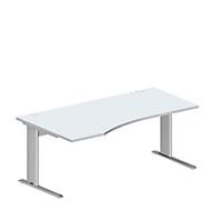 Schreibtisch PLANOVA BASIC, B 1800 x T 1000/800 x H 717 mm, lichtgrau, Gestell weißalu