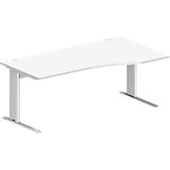 Schreibtisch PLANOVA BASIC, B 1800 x T 1000/800 x H 717 mm, weiß, Gestell weiß