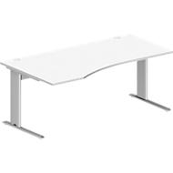 Schreibtisch PLANOVA BASIC, B 1800 x T 1000/800 x H 717 mm, weiß, Gestell weißalu