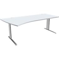 Schreibtisch PLANOVA BASIC, B 2000 mm, lichtgrau, Gestell weißalu