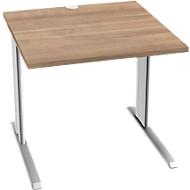 Schreibtisch PLANOVA BASIC, B 800 mm x T 800 mm, Gestell weiß, Platte Kirsche Romana-Dekor