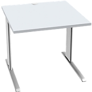 Schreibtisch PLANOVA BASIC, B 800 mm x T 800 mm, Gestell weiß, Platte lichtgrau