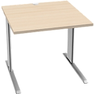 Schreibtisch PLANOVA BASIC, B 800 mm x T 800 mm, Gestell weißalu, Platte Ahorn-Dekor