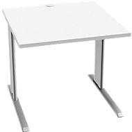 Schreibtisch PLANOVA BASIC, B 800 mm x T 800 mm, weiß, Gestell weißalu, Platte weiß