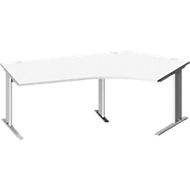 Schreibtisch PLANOVA BASIC, C-Fuß, Freiform, Ansatz rechts, B 2165 x 800/800 mm, weiß, Gestell