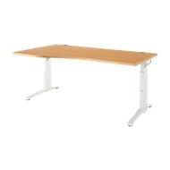 Schreibtisch PLANOVA ERGOSTYLE, Ansatz links, manuell höhenverstellbar durch Imbusschlüssel, B 1800 mm, Buche/weiß