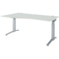 Schreibtisch PLANOVA ERGOSTYLE, Ansatz links, manuell höhenverstellbar durch Imbusschlüssel, B 1800 mm, lichtgrau/w.alu