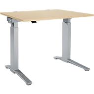 Schreibtisch PLANOVA ergoSTYLE, C-Fuß, Rechteck, einstufig elektr. höhenverstellbar, B 1200 mm, Ahorn-Dekor/weißalu