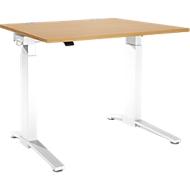 Schreibtisch PLANOVA ergoSTYLE, C-Fuß, Rechteck, einstufig elektr. höhenverstellbar, B 1200 mm, Buche-Dekor/weiß