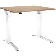 Schreibtisch PLANOVA ergoSTYLE, C-Fuß, Rechteck, einstufig elektr. höhenverstellbar, B 1200 mm, Kirsche Romana-Dekor/weiß