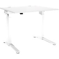 Schreibtisch PLANOVA ergoSTYLE, C-Fuß, Rechteck, einstufig elektr. höhenverstellbar, B 1200 mm, weiß/weiß