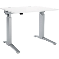 Schreibtisch PLANOVA ergoSTYLE, C-Fuß, Rechteck, einstufig elektr. höhenverstellbar, B 1200 mm, weiß/weißalu