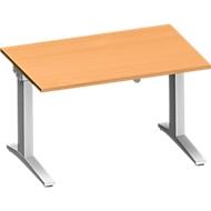 Schreibtisch PLANOVA ergoSTYLE, C-Fuß, Rechteck, einstufig elektr. höhenverstellbar, B 1200 x T 800 mm, Buche-Dekor/weißalu