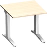 Schreibtisch PLANOVA ergoSTYLE, C-Fuß, Rechteck, man. höhenverstellbar, B 800 x T 800 x H 675-895 mm, Ahorn-Dekor/weiß