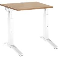 Schreibtisch PLANOVA ergoSTYLE, C-Fuß, Rechteck, man. höhenverstellbar, B 800 x T 800 x H 675-895 mm, Kirsche Romana-Dekor/weiß