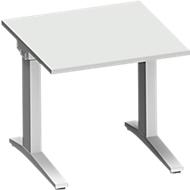 Schreibtisch PLANOVA ergoSTYLE, C-Fuß, Rechteck, man. höhenverstellbar, B 800 x T 800 x H 675-895 mm, lichtgrau/weißalu
