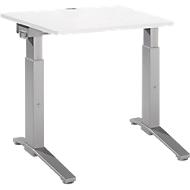 Schreibtisch PLANOVA ergoSTYLE, C-Fuß, Rechteck, man. höhenverstellbar, B 800 x T 800 x H 675-895 mm, weiß/weißalu