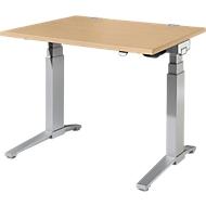 Schreibtisch PLANOVA ergoSTYLE, C-Fuß, Rechteck, zweistufig elektr. höhenverstellbar, B 1200 mm, Ahorn-Dekor/weißalu
