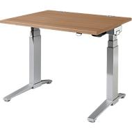 Schreibtisch PLANOVA ergoSTYLE, C-Fuß, Rechteck, zweistufig elektr. höhenverstellbar, B 1200 mm, Kirsche Romana-Dekor/weißalu