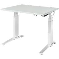 Schreibtisch PLANOVA ergoSTYLE, C-Fuß, Rechteck, zweistufig elektr. höhenverstellbar, B 1200 mm, lichtgrau/weiß