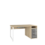 Schreibtisch Player, mit Schubladen, Kabeldurchlass & Kabelablage, Breite 1500 mm, Eiche/grauglas