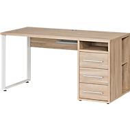 Schreibtisch Player, mit Schubladen, Kabeldurchlass & Kabelablage, Breite 1500 mm, Eiche
