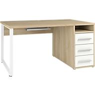 Schreibtisch Player, mit Schubladen, Kabeldurchlass & Kabelablage, Breite 1500 mm, Eiche/weißglas