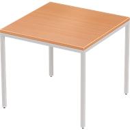 Schreibtisch PROPLANA, 4-Fuß, Rechteck, B 800 x T 800 x H 720 mm, Buche/weißalu