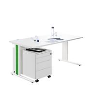 Schreibtisch+ Rollcontainer+ Akzentleisten PLANOVA BASIC, weiß/grün