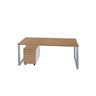 Schreibtisch + Rolly 1233 SET SINCERO LINE, Kufengestell, Rechteck, B 1800 x T 800 x H 680-820 mm, Kirsche Romana/weißalu