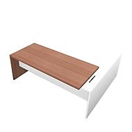 Schreibtisch, Sideboard X-TIME-WORK, Wange, Rechteck, Anbau weiß, links, B 2196 mm, Nuss Canaletto-Dekor