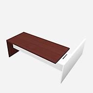 Schreibtisch, Sideboard X-TIME-WORK, Wange, Rechteck, Anbau weiß, links, B 2196 mm, Wenge-Dekor