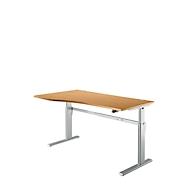 Schreibtisch Standard, Ansatz links, 1-stufig elektrisch höhenverstellbar, B 1800 mm, Buche