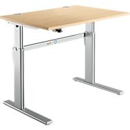 Schreibtisch Standard, C-Fuß, Rechteck, elektrisch höhenverstellbar, B 1200 x T 800 x H 725-1185 mm, Ahorn-Dekor