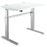 Schreibtisch Standard, elektrisch höhenverstellbar, Rechteck, C-Fuß, B 1200 x T 800 x H 725-1185 mm, lichtgrau/weißaluminium RAL 9006