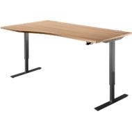 Schreibtisch START UP, Ansatz links, T-Fuß, Freiform, 1-stufig elektr. höhenverstellbar, Kirsche Romana/schwarz