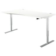Schreibtisch START UP, Ansatz links, T-Fuß, Freiform, 1-stufig elektr. höhenverstellbar, weiß/weißalu