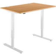 Schreibtisch START UP, einstufig elektr. höhenverstellbar, B 1200 mm, Buche/weiß