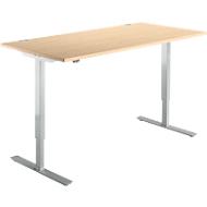 Schreibtisch START UP, einstufig elektr. höhenverstellbar, B 1600 mm, Ahorn/weißalu