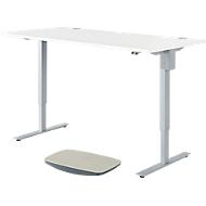 Schreibtisch START UP, elektr. höhenverstellbar, Rechteck, C-Fuß, B 1600 x H 705-1205 mm, mit Balanceboard, weiß