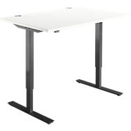 Schreibtisch START UP, elektrisch höhenverstellbar, Rechteck, T-Fuß, B 1200 x T 800 x H 705-1205 mm, weiß/schwarz