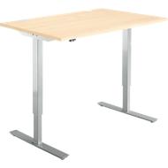 Schreibtisch Start Up, elektrisch höhenverstellbar, T-Fuß, 1200 x 800, Ahorn