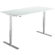 Schreibtisch Start Up, elektrisch höhenverstellbar, T-Fuß, B 1600 x T 800 mm, lichtgrau