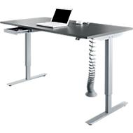 Schreibtisch Start Up, elektrisch höhenverstellbar, T-Fuß-Gestell, 1600 x 800 mm, graphit + Kabelführung, Zubehörschublade