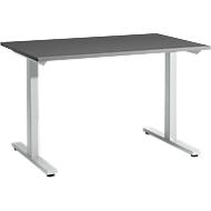 Schreibtisch Start Up, T-Fuß, Rechteck, Stahl/Holz, B 1200 x T 800 x H 735 mm, graphit