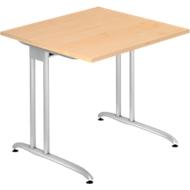 Schreibtisch TARA, C-Fuß, Rechteck, B 800 x T 800 x H 720 mm, Ahorn-Dekor