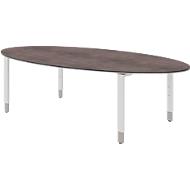Schreibtisch TEQSTYLE, 4-Fuß, oval, B 2200 x T 1100  x H 720 mm, Quarzit/weiß