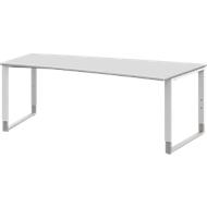 Schreibtisch TEQSTYLE, Kufengestell, Freiform, rechts, B 2000 x T 800/1000 x H 680 - 820 mm, weiß/weiß